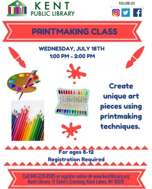 Printmaking Class July 18, 2018 - ages 8-12