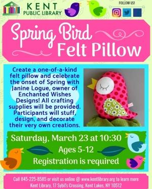 Spring Bird Felt Pillow